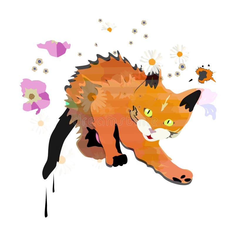 抽象水彩剪影滑稽的红色逗人喜爱的小猫 向量例证