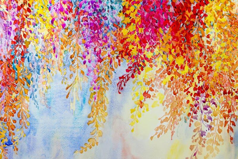 抽象水彩原始的山水画想象力五颜六色秀丽开花 向量例证