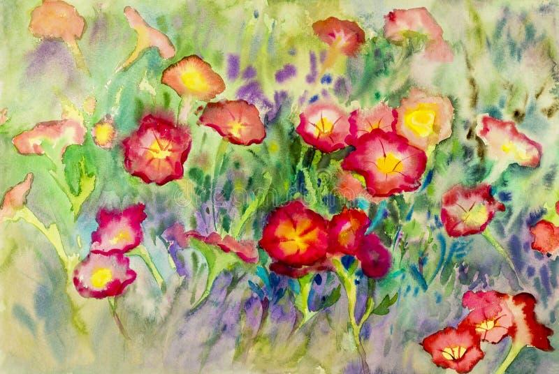 抽象水彩原始的绘画五颜六色喇叭花花 库存例证