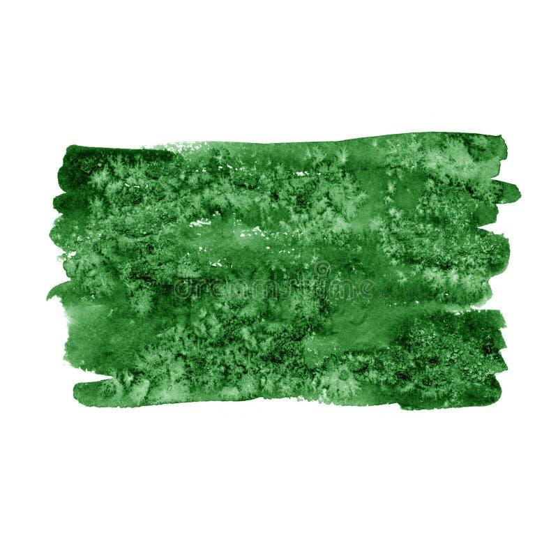 抽象水彩手油漆绿色纹理,隔绝在白色背景 向量例证