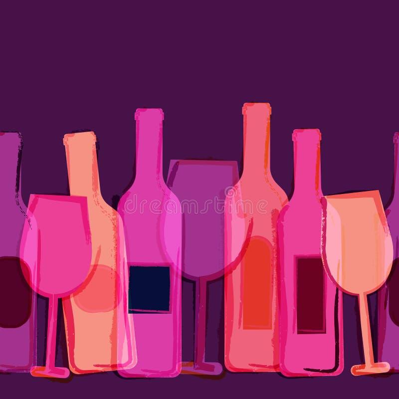 抽象水彩无缝的背景,红色,桃红色,紫色酒 库存例证