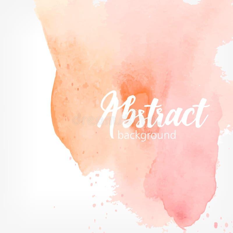 抽象水彩污点 桃子和桃红色淡色 与地方的创造性的现实背景文本的 库存例证
