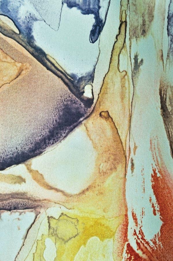 抽象水彩油漆,被绘的织地不很细垂直的丝织物 库存图片