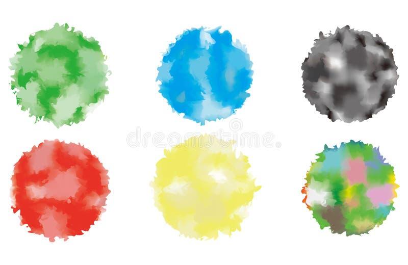 抽象水彩蓝色圈子被绘的背景 向量 库存图片