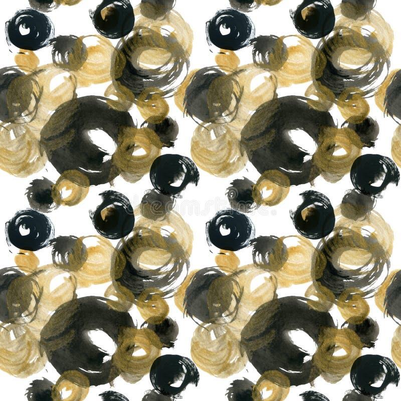 抽象水彩金黄和黑圈子 库存例证