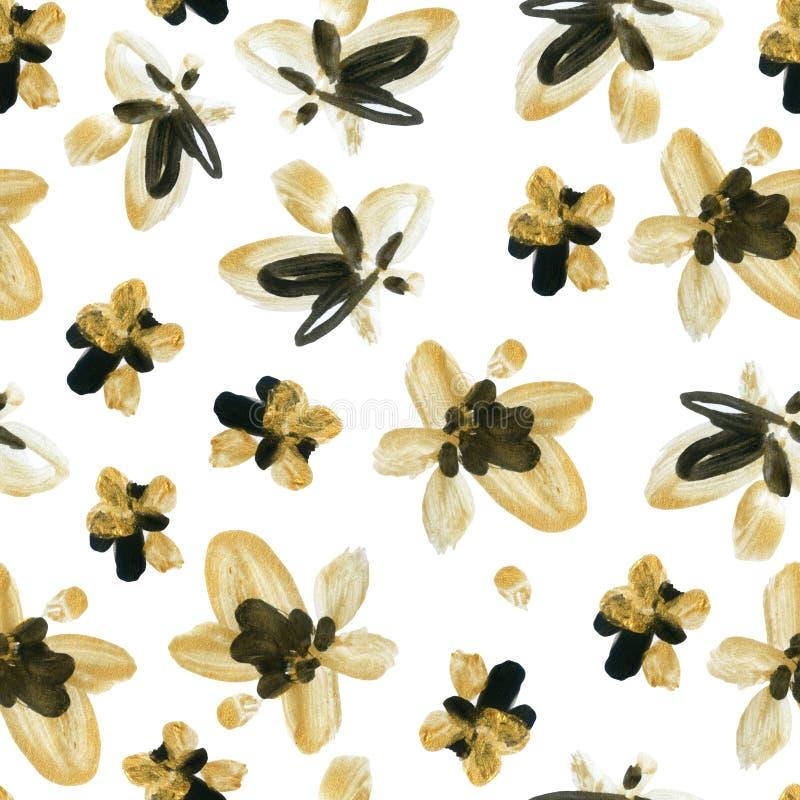 抽象水彩金黄和黑花无缝的样式 库存例证