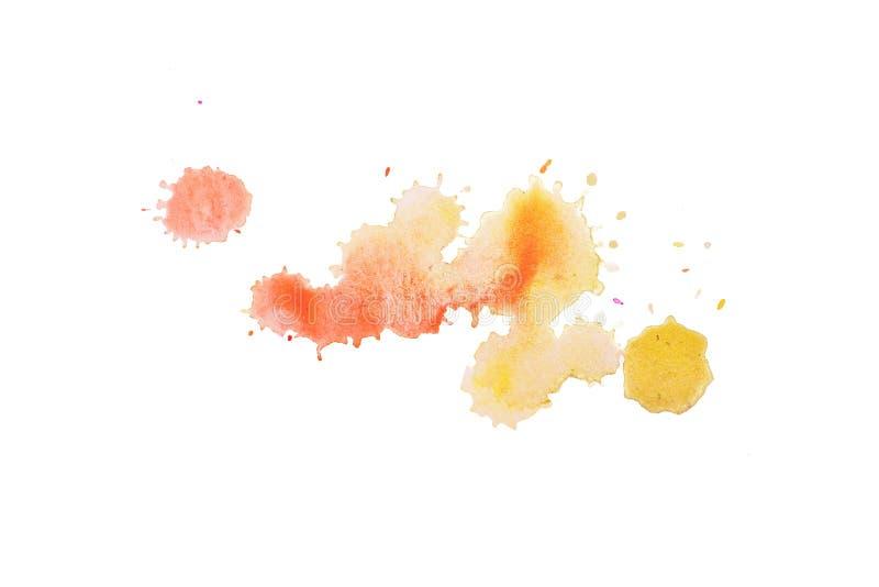 抽象水彩水彩画手拉的污点五颜六色的橙黄油漆泼溅物污点 免版税图库摄影
