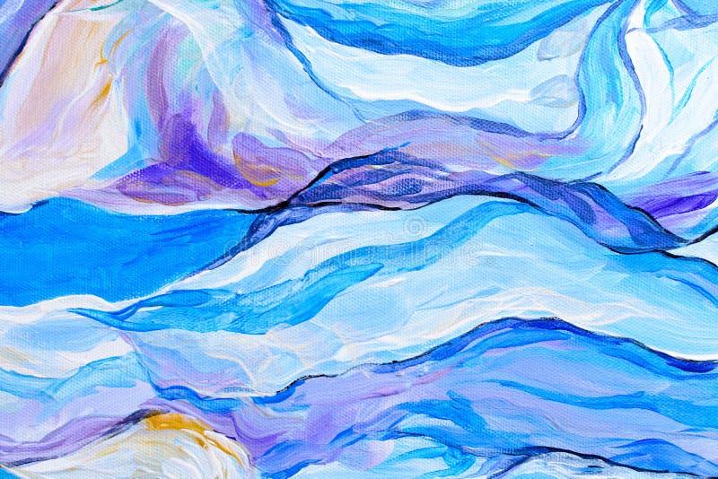 抽象水彩绘画,在纸纹理的树胶水彩画颜料绘画 向量例证