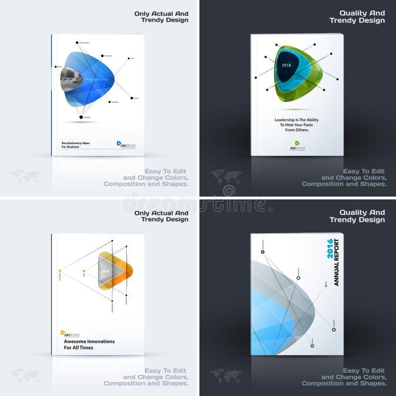 抽象年终报告,企业传染媒介模板 小册子设计,盖子 库存例证