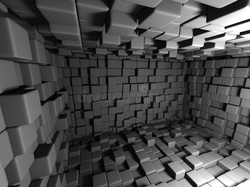 抽象黑暗的立方体墙壁室背景 库存例证
