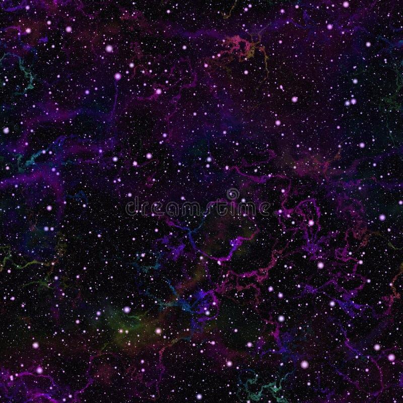 抽象黑暗的紫罗兰色宇宙 星云夜满天星斗的天空 蓝色外层空间 太空星群的纹理背景 无缝例证的绳索 向量例证