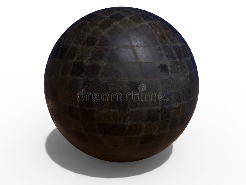 抽象黑暗雕琢平面的球形 库存例证