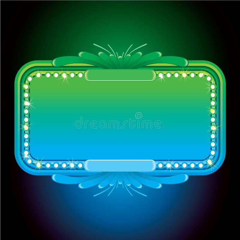 抽象绿松石霓虹灯广告。传染媒介背景 库存例证