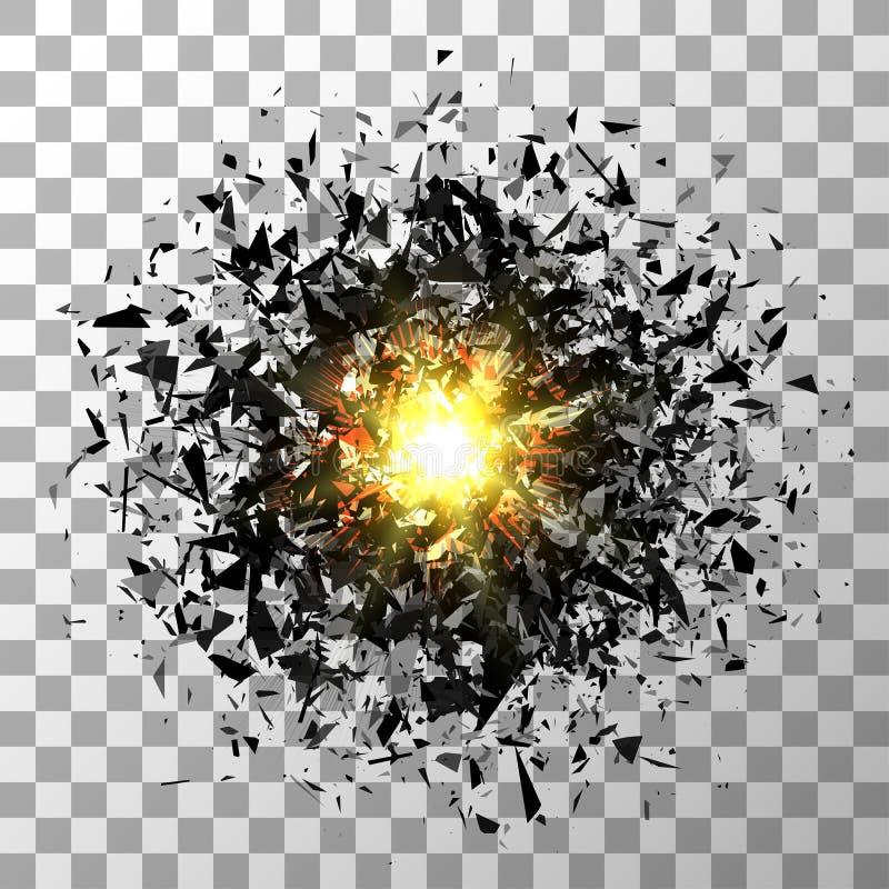 抽象黑爆炸 在透明的传染媒介 库存例证