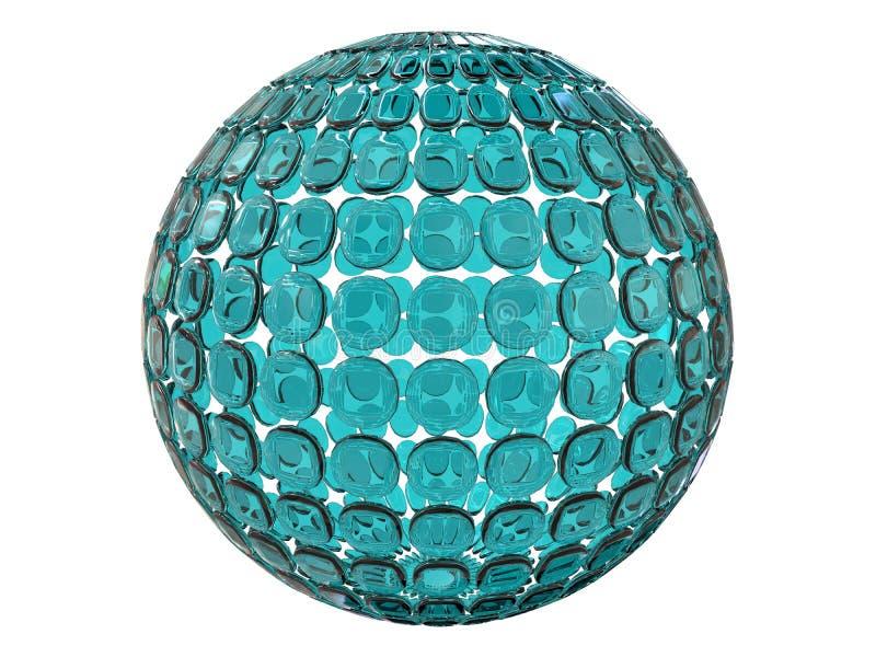 抽象玻璃球形结构3d回报 向量例证