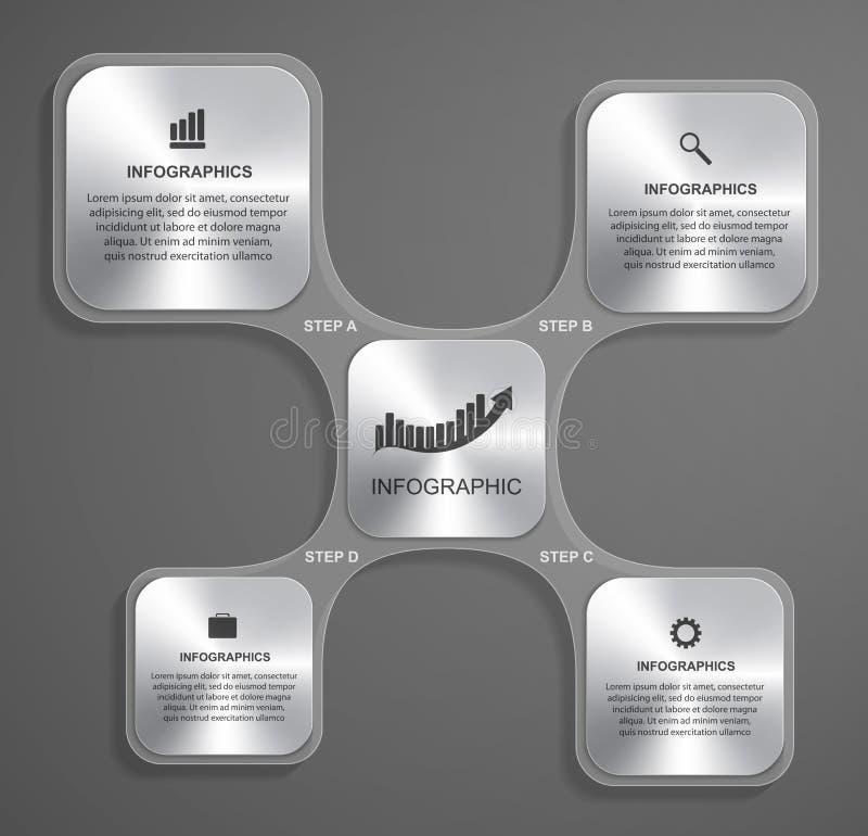 抽象玻璃infographic设计模板以方形的形式 皇族释放例证