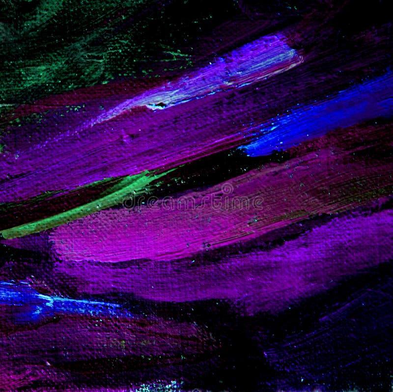 抽象绘画用紫罗兰色轻拍在帆布,例证上油, 免版税库存照片