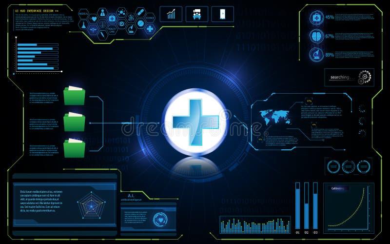 抽象医疗保健技术创新概念HUD接口UI设计背景 向量例证