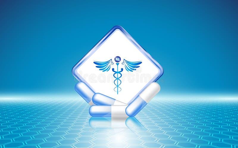 抽象医疗保健概念模板背景六角形样式设计 库存例证