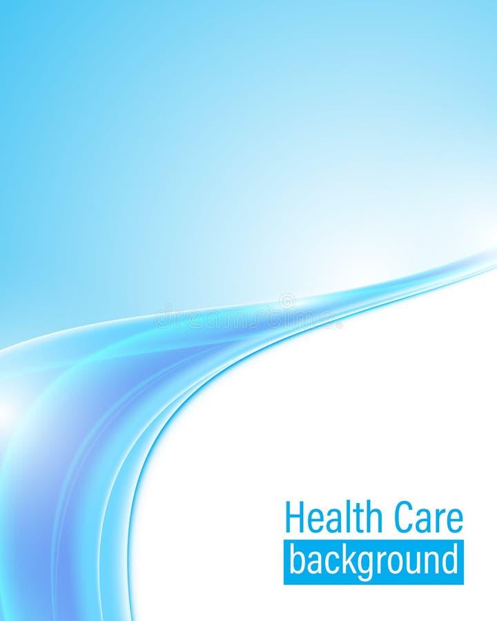 抽象医疗保健背景飞行物封页设计蓝色波动图式 向量例证