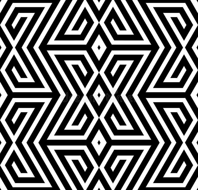 抽象黑白之字形传染媒介无缝的样式 皇族释放例证