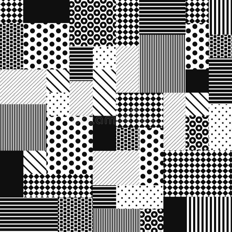 抽象黑白补缀品 向量例证