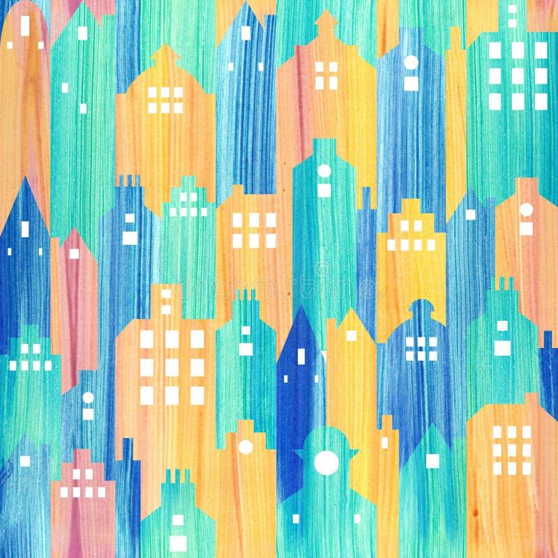 抽象建筑大厦-无缝的背景-围住12月 向量例证