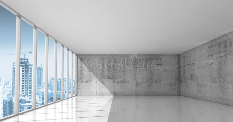 抽象建筑学,与混凝土墙的空的内部 库存例证