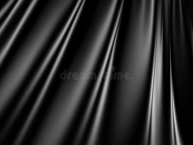 抽象黑缎丝绸布料挥动背景 皇族释放例证