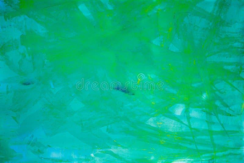 抽象派背景 在画布的油画 绿色和黄色纹理 艺术品的片段 油漆斑点  库存图片