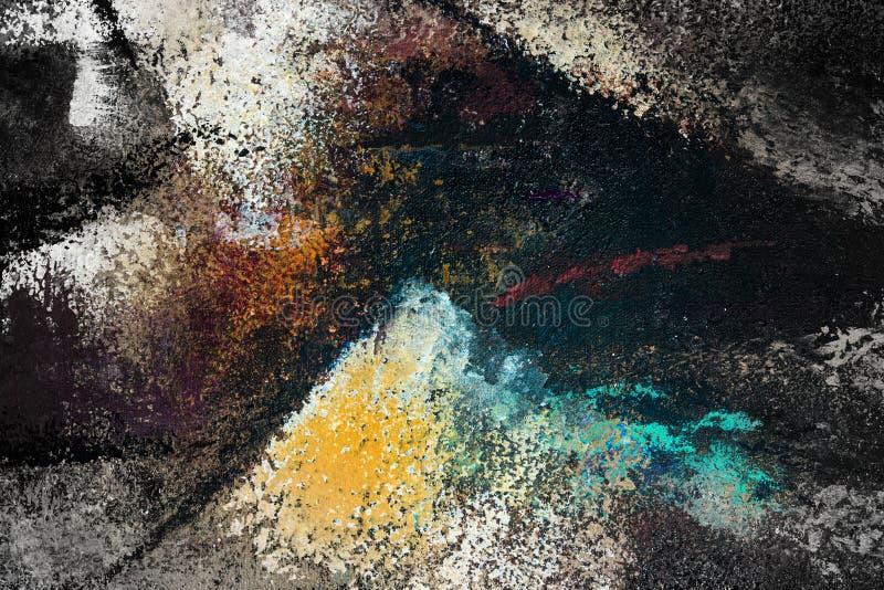 抽象派背景 在画布的油画 向量例证