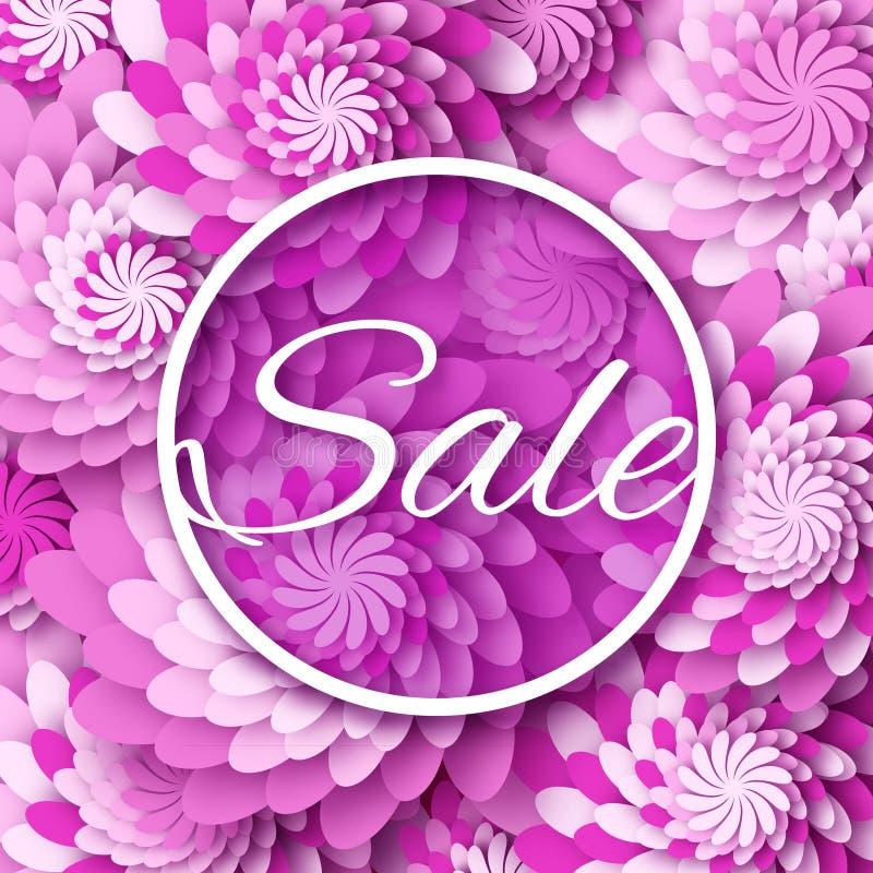 抽象紫色事务的春天夏天销售五颜六色的横幅 皇族释放例证