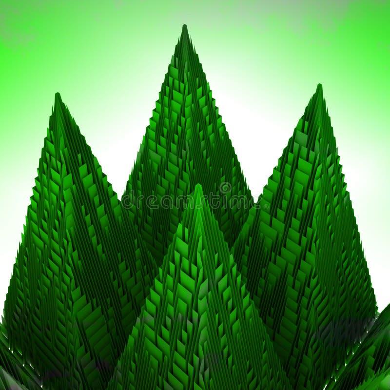 抽象绿色山金字塔结构 库存例证