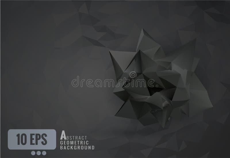 抽象黑色弄皱了在黑暗的多角形背景的纸形状 库存例证