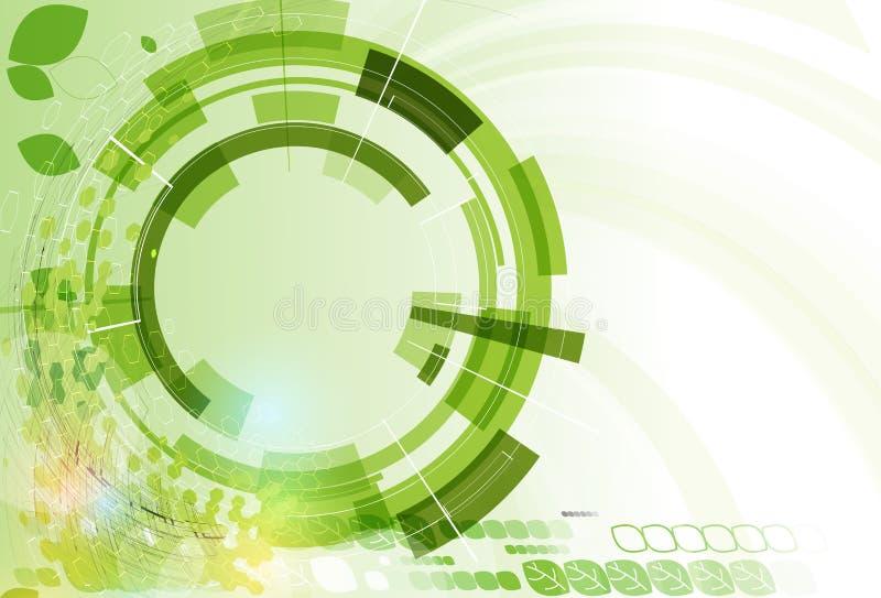 抽象绿色点六角形生态企业和技术bac 向量例证