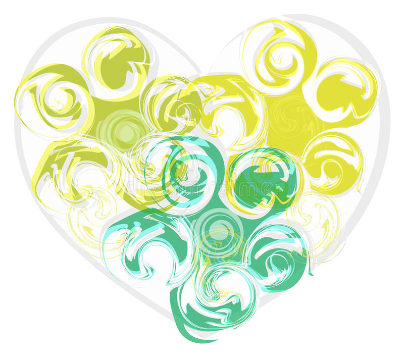 抽象绿色玫瑰心脏 免版税库存照片