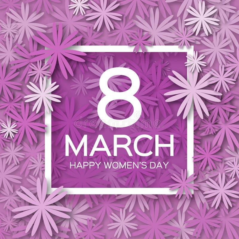 抽象紫色花卉贺卡-国际愉快的妇女的天- 3月8日假日 皇族释放例证