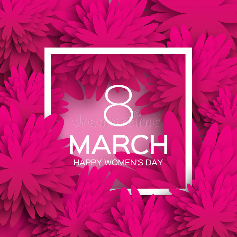 抽象紫色花卉贺卡-国际愉快的妇女的天- 3月8日假日 向量例证