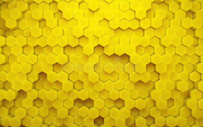 抽象黄色蜂窝几何样式 3d翻译 向量例证