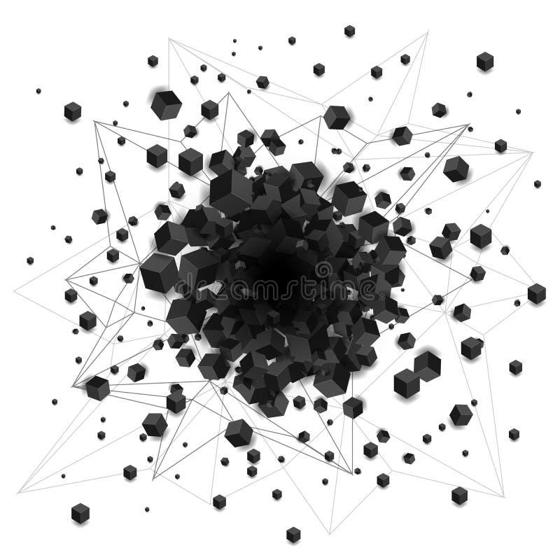 抽象黑色遮蔽了与孔的立方体爆炸 向量例证