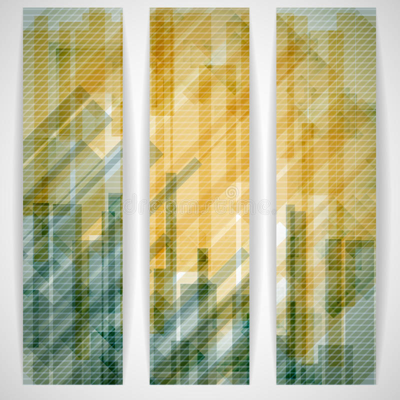 抽象黄色长方形塑造横幅。 皇族释放例证