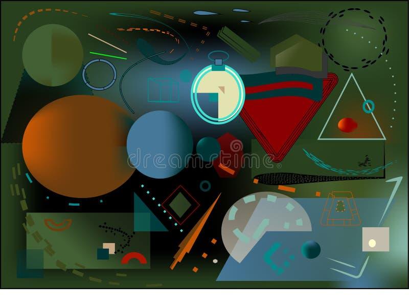 抽象绿色黑暗的背景,启发由kandinsky的画家 皇族释放例证