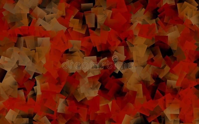 抽象黄色&橙色立方体 向量例证