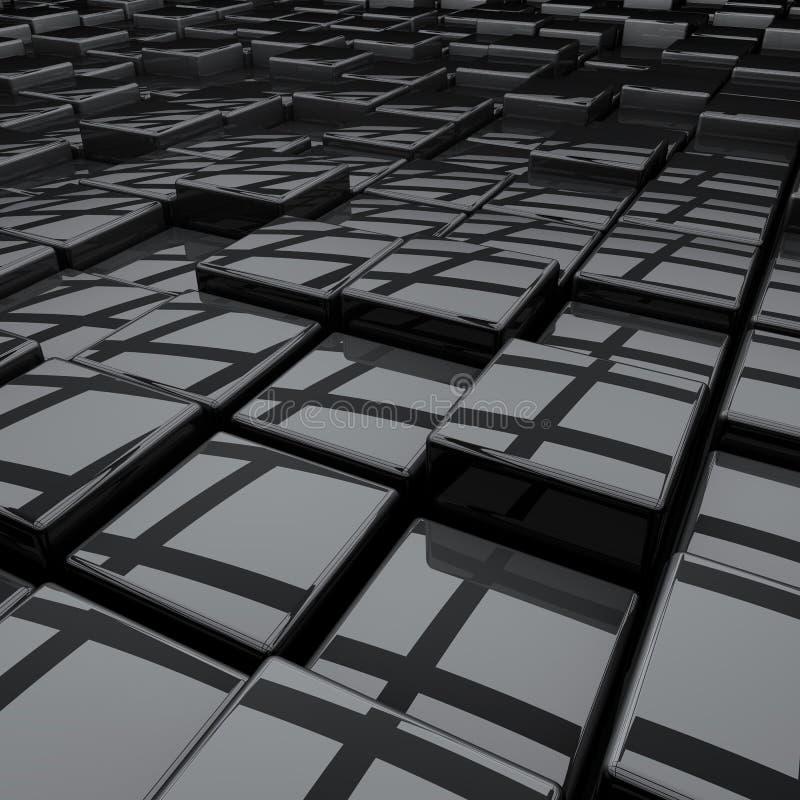 抽象黑色3D立方体 向量例证