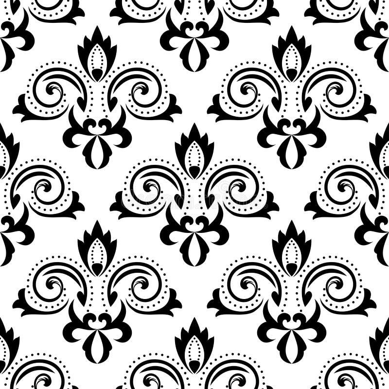 抽象黑花卉无缝的样式 向量例证