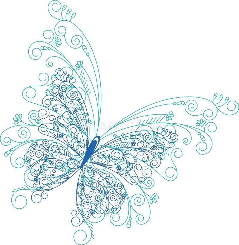 抽象蝴蝶花卉背景 向量例证