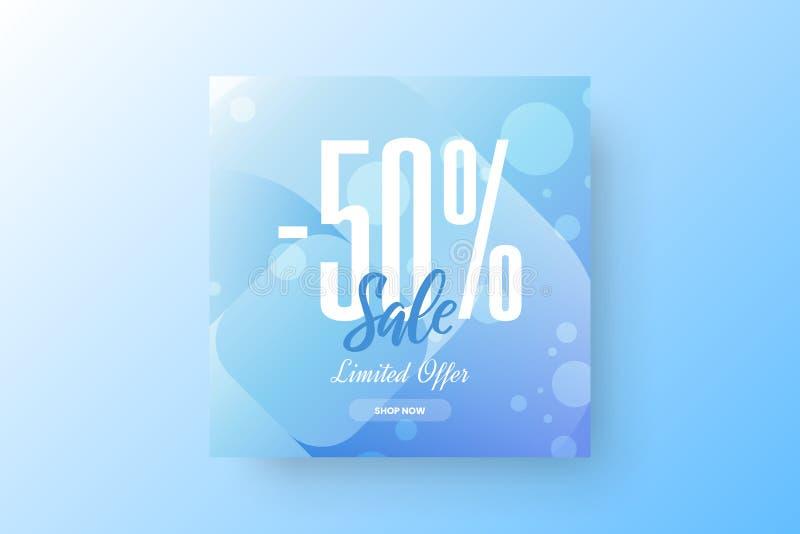 抽象-50%销售传染媒介横幅设计模板 有限的提议折扣社会媒介促进例证布局 库存例证
