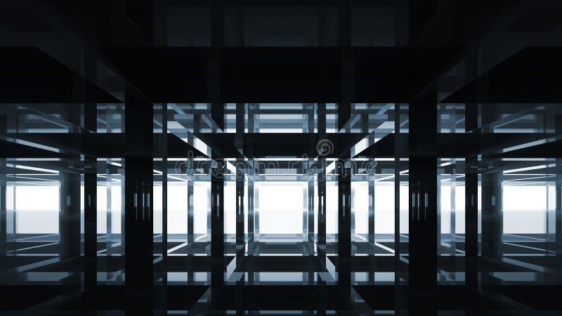 抽象黑镜子现代内部 库存例证