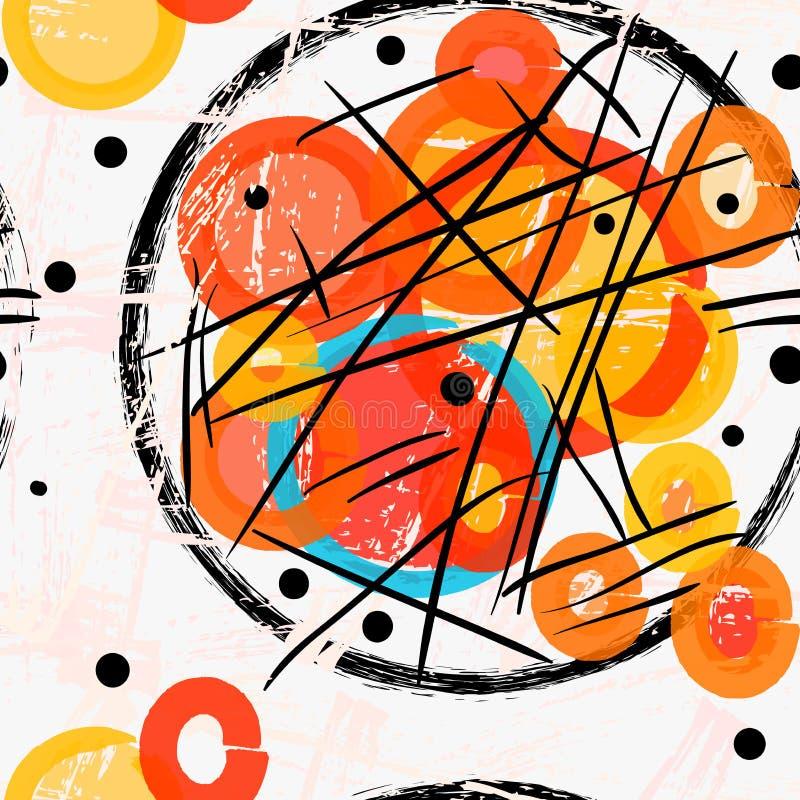 抽象黑难看的东西盘旋与红色和黄色标志 库存例证