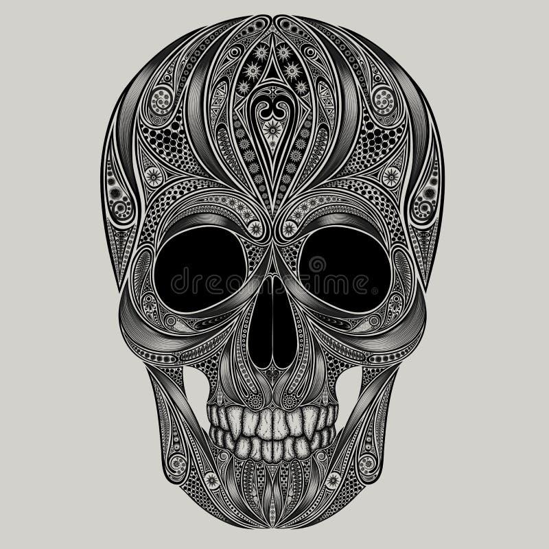 抽象头骨为万圣夜 库存例证